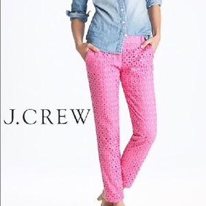 J. CREW Cafe Capri Ultra Eyelet in Pink, Sz 2